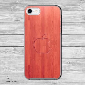 Embossed apple logo wood effect